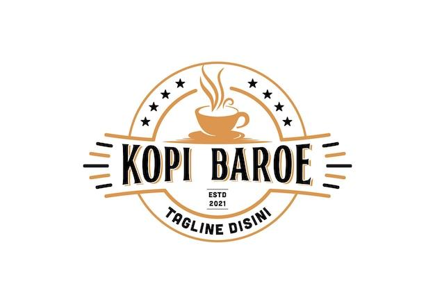 Logotipo do café retrô vintage. inspiração de modelo de design de selo, etiqueta, emblema