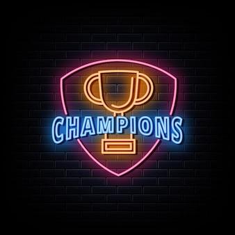 Logotipo do campeão de esportes com sinal de néon de troféu