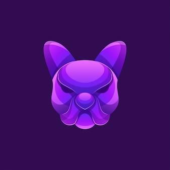 Logotipo do cão de cor moderna