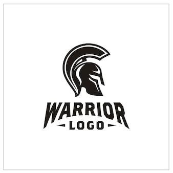 Logotipo do capacete de guerreiro espartano