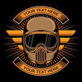 Logotipo do capacete de motociclista