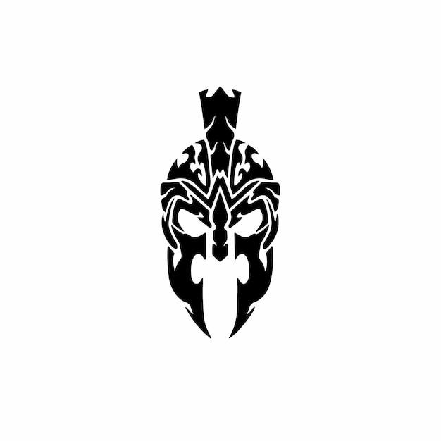 Logotipo do capacete espartano desenho de tatuagem tribal ilustração vetorial de estêncil