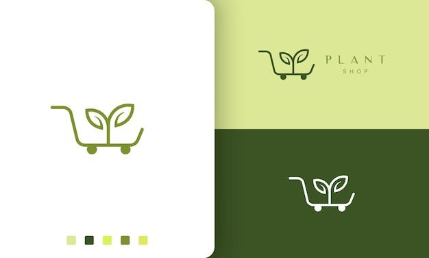 Logotipo do carrinho para loja de produtos naturais ou orgânicos em estilo simples e moderno