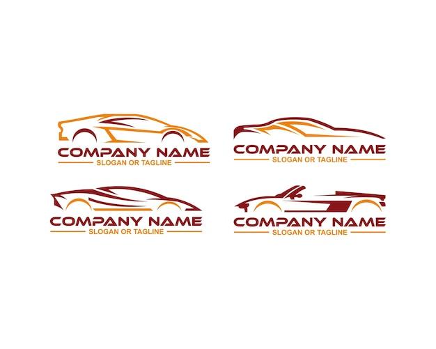 Logotipo do carro em gráfico de linha limpa e simples projetado