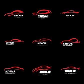 Logotipo do carro em vetor de modelo de design gráfico de linha simples