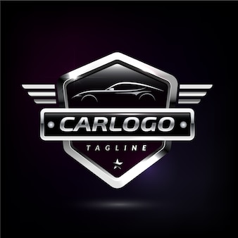 Logotipo do carro metálico realista