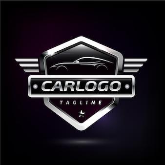 Logotipo do carro metálico realista