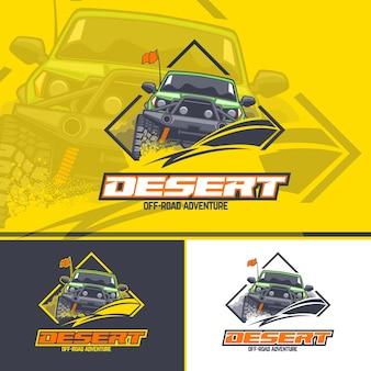 Logotipo do carro off-road em três versões em um fundo amarelo, escuro e branco.