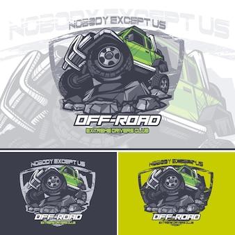 Logotipo do carro verde off road no topo de uma montanha com um slogan no topo.