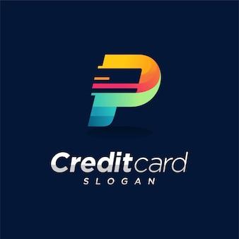 Logotipo do cartão de crédito com conceito da letra p