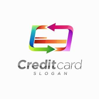 Logotipo do cartão de crédito com conceito de seta