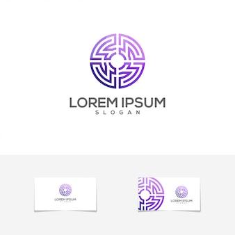 Logotipo do cartão de gradiente impressionante círculo