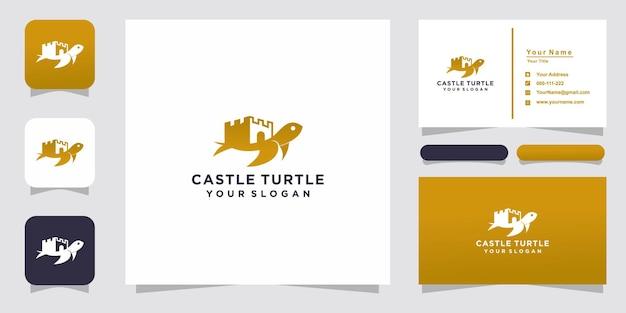 Logotipo do castelo e tartaruga e design de cartão de visita