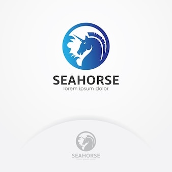 Logotipo do cavalo-marinho com círculo