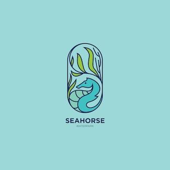 Logotipo do cavalo marinho flat