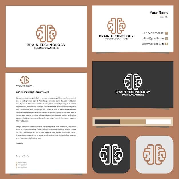 Logotipo do cérebro com cartão de visita