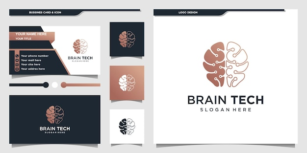 Logotipo do cérebro com forma de arte de linha de tecnologia moderna e design de cartão de visita premium vector