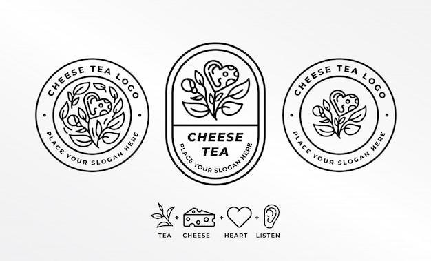 Logotipo do chá com queijo (combinação de chá, queijo, coração e orelha)