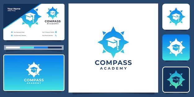 Logotipo do chapéu de educação de inspiração com bússola criativa design.logo e modelo de design de cartão de visita.