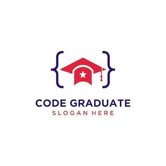 Logotipo do chapéu de graduação de código