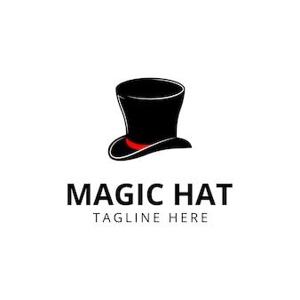 Logotipo do chapéu mágico logotipo preto ícone design ilustração vetorial