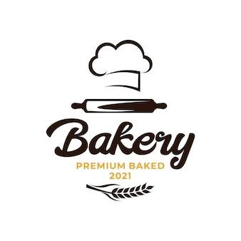 Logotipo do chef de padaria. logotipo da agricultura de arroz de trigo
