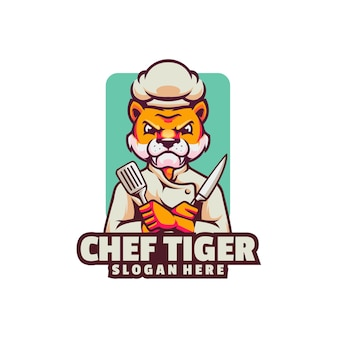 Logotipo do chef zangado tigre