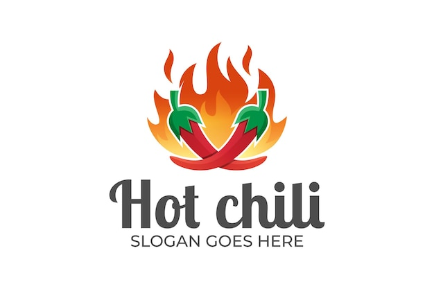 Logotipo do chili fire, grelhados e picantes para comida quente