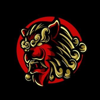 Logotipo do chinese lion e sport