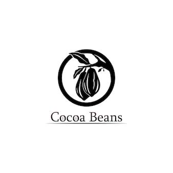 Logotipo do chocolate e ícone de cacau e desenho vetorial noz e noz deliciosa