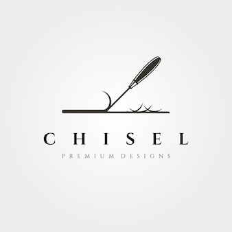 Logotipo do cinzel para ilustração de carpintaria de madeira