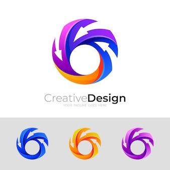 Logotipo do círculo com combinação de design de seta, ícones coloridos