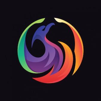 Logotipo do círculo de cor de phoenix