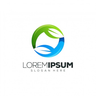 Logotipo do círculo de folha