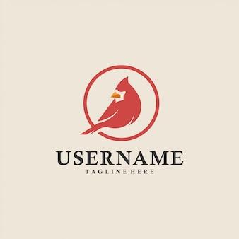 Logotipo do círculo de pássaro cardeal vermelho