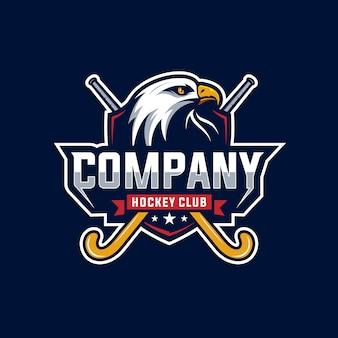 Logotipo do clube de águia e hóquei