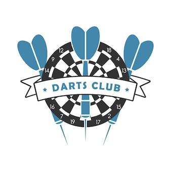 Logotipo do clube de dardos. modelo de emblema do esporte com dardo, alvo de dardos e fita. ilustração vetorial.