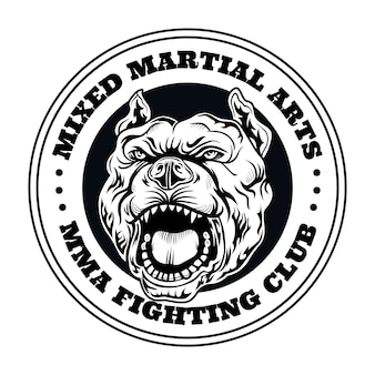 Logotipo do clube de luta com cachorro bravo. logotipo do clube de kickboxing e luta com cachorro bravo. ilustração vetorial isolada
