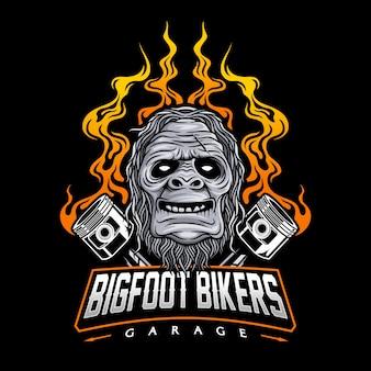 Logotipo do clube de moto com ilustração bigfoot e pistão