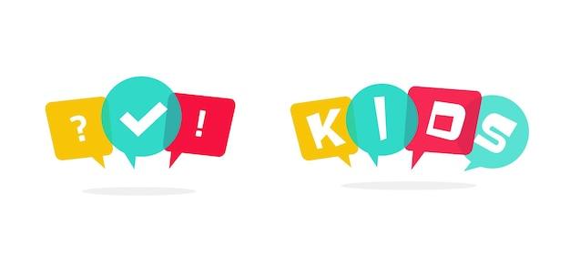Logotipo do clube infantil com discursos de bolhas e zona de questionário infantil divertida ou ícone de aprendizagem em quadrinhos com questionário