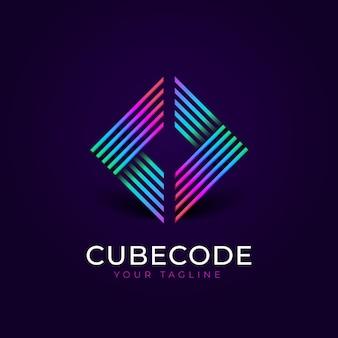 Logotipo do código do gradiente azul violeta