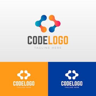 Logotipo do código gradiente com slogan