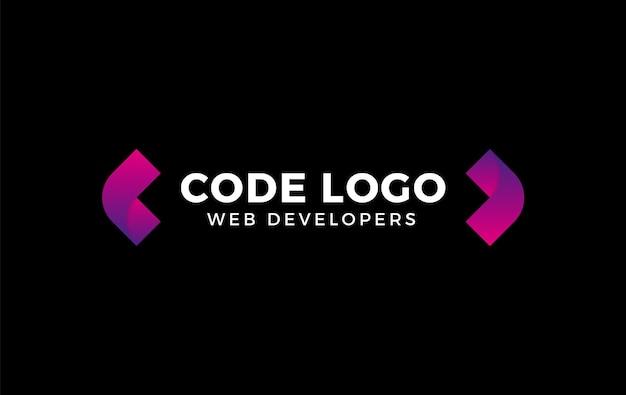 Logotipo do código gradiente para desenvolvedores da web
