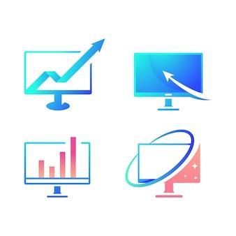 Logotipo do computador ilustração em vetor ícone design modelo