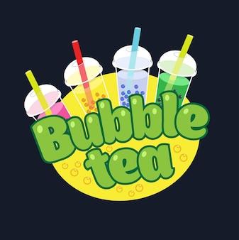 Logotipo do conceito bubble tea