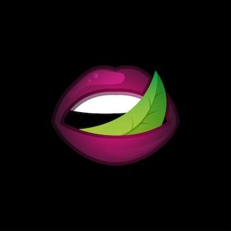 Logotipo do conceito com os lábios e folhas.