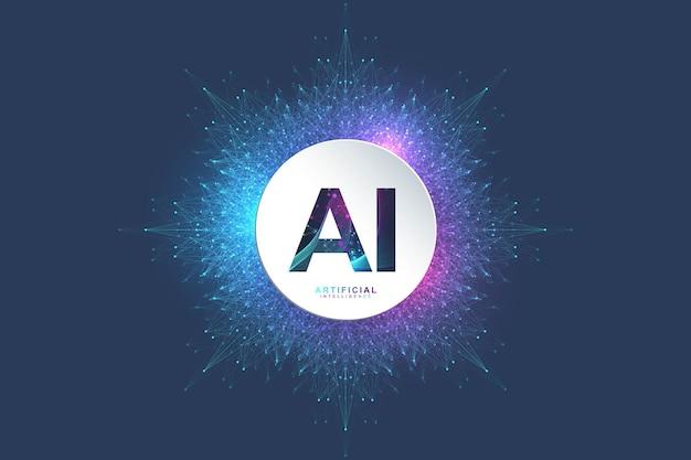 Logotipo do conceito de inteligência artificial e aprendizado de máquina