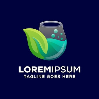 Logotipo do conceito de laboratório natural vetor premium