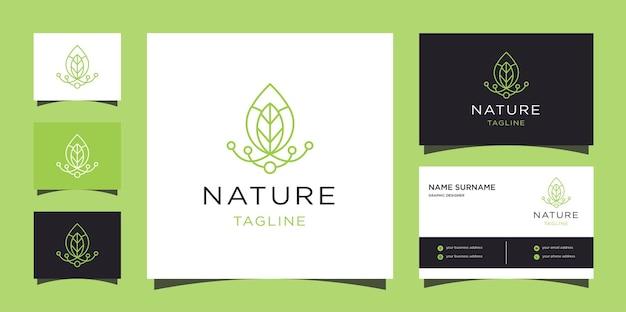 Logotipo do conceito de natureza verde criativa. modelo de logotipo de linha de folha com cartões de visita