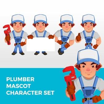 Logotipo do conjunto de caracteres do mascote do encanador